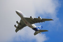 Airbus A380 on flypast at a UK airshow stock image