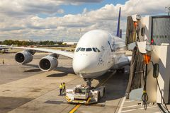 Airbus A380 in Frankfurt Royalty Free Stock Photos