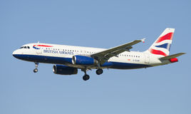 Airbus A320 (G-EUUR) with British Airways before landing in Pulkovo airport Royalty Free Stock Photography