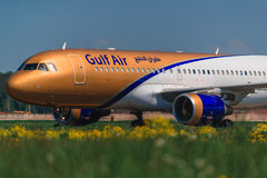 Airbus A 320 Gulf Air Airlines taxing at apron. Of Mocsow Airport Domodedovo Stock Photos