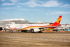 Airbus A330-343 Hainan Airlines. An Airbus A330 at the Seattle Tacoma International  airport Stock Photos