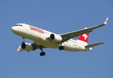 Airbus A320 (HB-JLT) Swiss International Air Lines in flight Stock Image