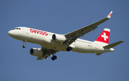 Airbus A320 (HB-JLT) Swiss International Air Lines before landing Royalty Free Stock Photo