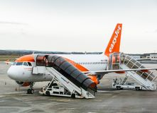 Airbus A319-111 HB-JYJ operated by EasyJet airlines on tarmac. Basel, Switzerland - 11 nov 2018: Airbus A319-111 HB-JYJ operated by EasyJet airlines on tarmac of royalty free stock image