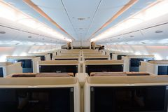 Airbus A380. HONG KONG- NOVEMBER 03, 2015: interior of Singapore Airlines Airbus A380. Singapore Airlines Limited is the flag carrier of Singapore which operates Stock Photos