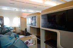 Airbus A380. HONG KONG- NOVEMBER 03, 2015: interior of Singapore Airlines Airbus A380. Singapore Airlines Limited is the flag carrier of Singapore which operates Stock Image