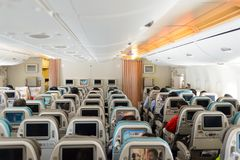Airbus A380. HONG KONG- NOVEMBER 03, 2015: interior of Singapore Airlines Airbus A380. Singapore Airlines Limited is the flag carrier of Singapore which operates Stock Images