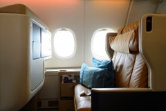 Airbus A380. HONG KONG- NOVEMBER 03, 2015: interior of Singapore Airlines Airbus A380. Singapore Airlines Limited is the flag carrier of Singapore which operates Royalty Free Stock Image