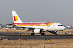 Airbus A318 of the Iberia Airline Royalty Free Stock Photo