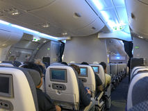 Airbus 380. Interior of the Airbus 380, ready for take off Royalty Free Stock Photo