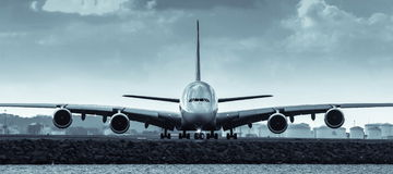 Airbus A380 jet airliner - front view. Front view of Airbus A380 jet airliner on runway Royalty Free Stock Image