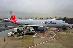 An Airbus A320 from Jet Blue (B6) painted in a Boston Red Sox livery Royalty Free Stock Images