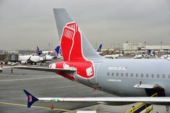 An Airbus A320 from Jet Blue (B6) painted in a Boston Red Sox livery Royalty Free Stock Image