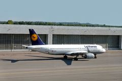Airbus A320 landed in Munich international airport. MUNICH, GERMANY - May 14, 2019: Passenger supersonic plane Airbus A320-200 of Lufthansa in Munich royalty free stock image