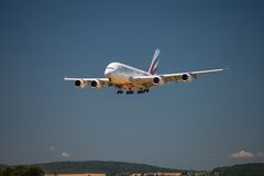 Airbus A 380 landing Royalty Free Stock Images