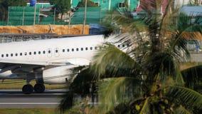 Airbus A320 landing. PHUKET, THAILAND - DECEMBER 1, 2018: Bangkok Airways Airbus 320 HS-PPE approaching and landing, International Phuket Airport stock footage