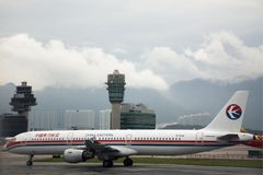 Airbus landing on runway at Hong Kong International Airport in HongKong China stock photos