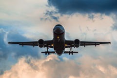 Airbus A 319 landing in a thunderstorm Royalty Free Stock Photography