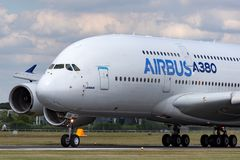 Airbus A380-841 large four engined commercial airliner aircraft F-WWOW royalty free stock images