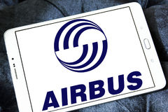 Airbus logo. Logo of aircraft manufacturer, airbus on samsung tablet Royalty Free Stock Image