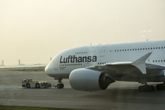 Airbus A380 in Lufthansa at the tarmac Stock Image
