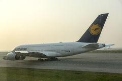 Airbus A380 in Lufthansa waiting for take off Royalty Free Stock Image