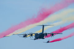 Airbus A400M escorted by fighter squad Stock Photos