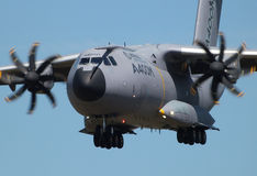 Airbus A400M. Military transport plane coming in to land at Farnborough airshow 2014 Royalty Free Stock Images