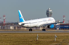 Airbus a321 Metrojet, Russland St Petersburg Pulkovo, am 15. März 2015 Lizenzfreies Stockfoto