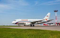 Airbus A319 moves on the runway Royalty Free Stock Images