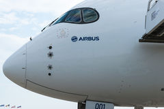 Airbus A350-900 na exposição no aeródromo de Zhukovsky Imagem de Stock