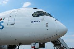 Airbus A350-900 na exposição no aeródromo de Zhukovsky Foto de Stock