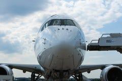 Airbus A350-900 na exposição no aeródromo de Zhukovsky Fotografia de Stock