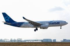 Airbus A330-243 - 250, operated by Air transat landing stock photo
