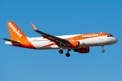 Airbus A320-214 - 8344, operated by easyJet landing stock photography