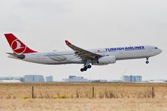 Airbus A330-343 - 1542, operated by Turkish Airlines landing royalty free stock photos