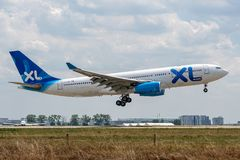 Airbus A330-243 operated by XL Airways France on landing. F-HXXL Airbus A330-243-32414 on July 11, 2019, landing on Paris Roissy at the end of flight XL Airways royalty free stock photos