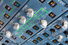 Airbus A320 overhead panel. With switches and knobs for controlling various aircraft systems and components Stock Image