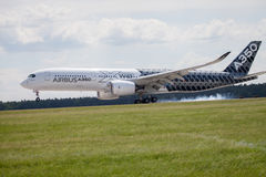 Airbus A 350 - 900 plane lands on airport in Berlin Stock Image