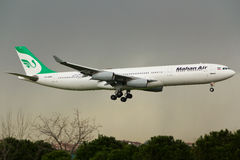 Airbus A340 Plane. Mahan Air Airbus A340 Plane in the sky Royalty Free Stock Photography