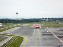 Airbus plane own by airasia towed and ready to take off royalty free stock image