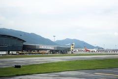 Airbus and plane on runway station waiting time for take off at Hong Kong International Airport. On September 3, 2018 in Hong Kong, China royalty free stock images