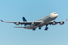 Airbus A340 Plane. Turkish Airlines Airbus A340 Plane in the sky Star Alliance livery Royalty Free Stock Photo