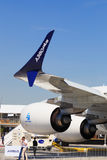 Airbus A380 Plus. Proposed Airbus A380 Plus, a continued development of the A380 with improved winglets, at the 2017 Paris Air Show, le Bourget Stock Photos
