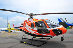 Airbus (previously Eurocopter) AS350 light utility helicopter on display at Singapore Airshow Royalty Free Stock Image