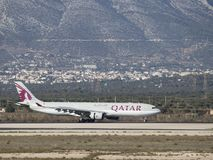 Airbus A-330-302 Qatar Airway. Athens - November 21, 2017: Powerful passenger airplane Airbus A-330-302 Qatar Airways landed at the airport on November 21, 2017 Stock Photos