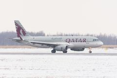 Airbus a320 qatar airways airlines, airport Pulkovo, Russia, Saint-Petersburg February 04. 2018. Airbus a320 qatar airways airlines, airport Pulkovo, Russia Stock Photo