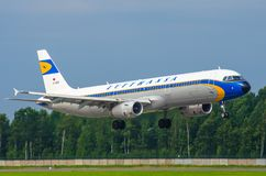 Airbus A321 retro livery Lufthansa. Russia. Saint-Petersburg. August 10, 2017. Royalty Free Stock Images