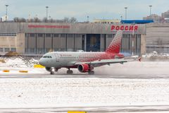 Airbus a319 Rossiya airlines, airport Pulkovo, Russia Saint-Petersburg. January 08. 2018. Royalty Free Stock Image