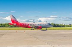 Airbus a319 Rossiya airlines, airport Pulkovo, Russia Saint-Petersburg. June 2017. Royalty Free Stock Images